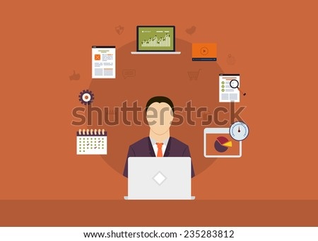 Concept of consulting services, project management, time management, marketing research, strategic planning. All elements are around icon of businessman