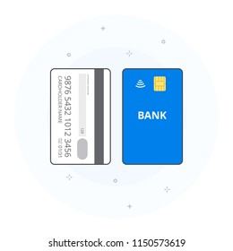 Concept of contactless vertically orientated payment card. Bank card including cardholder name, card number and expiry date, chip. Vector illustration, white background.