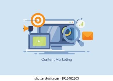 Concept of content marketing, digital marketing, email, video marketing, social media - flat design vector illustration with icons