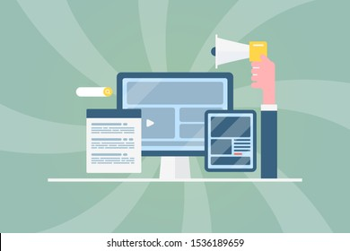 Concept content marketing, Digital marketing, Search optimization, Seo advertising - flat design vector illustration