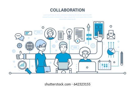 The concept of cooperation, collaboration, partnerships, teamwork, sales, marketing and integrated approach to discussion of issues and common issues. Illustration thin line design of vector doodles