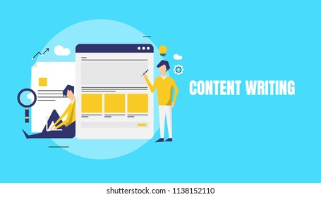 Concept for Copy writing, Content research, Content development idea - flat line vector cartoons with characters and icons