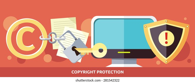 Concept of Copyright protection of intellectual property and data in Internet and violation of the law. Law illustration, key in the keyhole, computer. For web banners, promotion, presentation