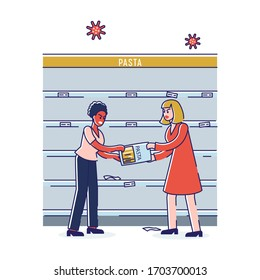 Concept Of Coronavirus Panic Shopping. Angry Quarreling Women In Panic Are Fighting Because Of Food Supply And Toilet Paper Deficit In The Supermarket. Cartoon Linear Outline Flat Vector Illustration