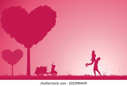 Concept couples valentine's day. Love of couple silhouette on nature sweet color. Man and woman happiness in valentine's day. Illustration vector flat design