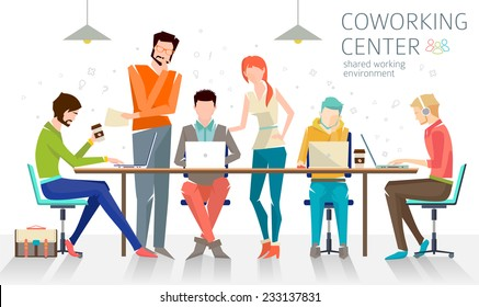 Concept of the coworking center. Business meeting. Shared working environment. People talking and working  at the computers in the open space office. Flat design style.