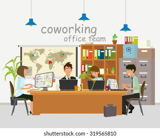 Concept of the coworking center. Business meeting. Vector illustration. open space office building with working people.