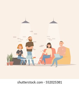 Concept of the coworking center. Business meeting. Flat design style vector illustration. Freelancers working in creative space. Modern office interior. Application development