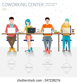 Concept of the coworking center. Various people talking and working  at the computers in the open space office. Different professions are united. Flat design style.