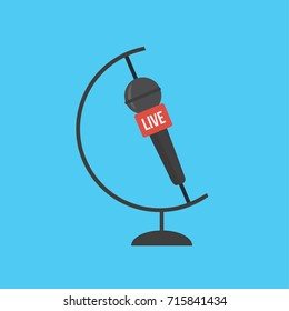 concept & creative international flat design simple Microphone. journalist cartoon symbol. news on TV & live vector logo. mic mike Journalism. globe & earth global isolated sign & icon round the world