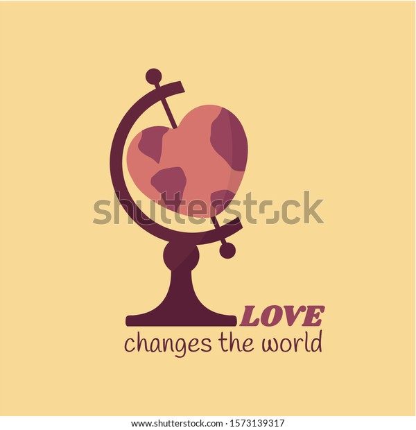 concept & creative logo peace & global beautiful art wedding invitation. save the education greeting card. love changes the world heart shaped vector isolated on flat design cartoon cool globe around