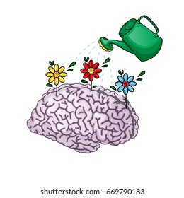 The concept of creative thinking. The brain that blooms, watered from the garden watering. Vector illustration. Cartoon style.