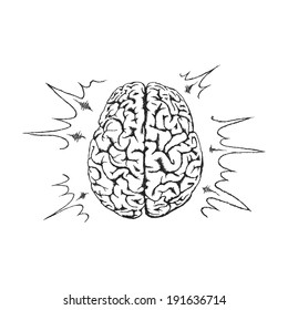 Concept of creativity with human brain.