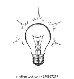 Concept of creativity with lighting bulb.