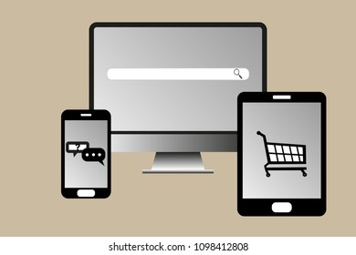 Concept of cross system search and shopping with multiple devices from phone to tablet to desktop computer
