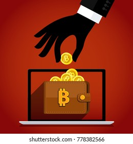 Concept of Crypto currency. Thief steal bitcoins or virtual money. Flat design, vector illustration.