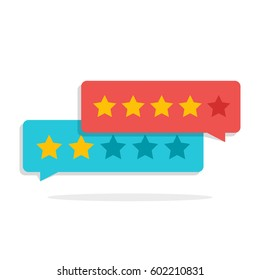 Concept of customer feedback. Rating in the form of stars. Negative or positive rating. Dialog box for the interface in the mobile application or on the site.