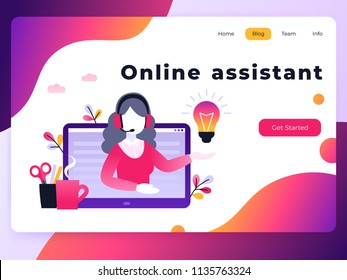 Concept customer and operator, online technical support 24-7 for web page. Vector landing page template female hotline operator advises client. Online assistant, virtual help service.