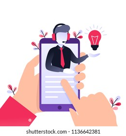 Concept customer and operator, online technical support 24-7 for web page. Vector illustration male hotline operator advises client. Online assistant, virtual help service on smartphone.