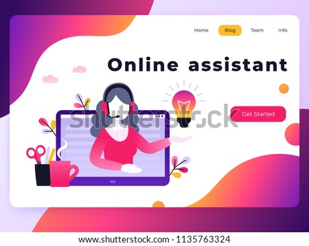 Concept Customer And Operator Online Technical Support 24 7 For Web Page Vector