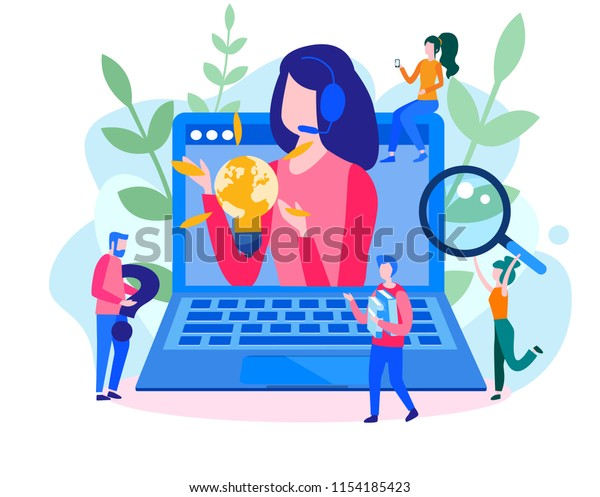 Concept customer service, hotline operator advises client for web page, banner, presentation, social media. Online global technical support 24/7. Vector illustration Idea of advice, help,  assistance.