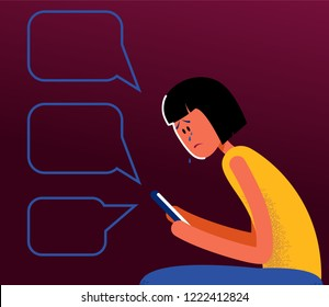 Concept of cyber bullying, aggression, gossiping, humiliation, aspersion,  insult, slander, slur, detraction, libel on girl. Vector flat illustration.