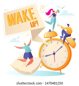 Concept of daily morning life. Morning wake up alarm and happy, flat, people characters rejoice at the beginning of a new day, they jumping and dancing, shouting into a megaphone and drinking coffee.