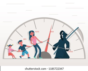 The concept of the danger of exceeding the speed behind the wheel of a car. The family is fighting for the life of the driver with death, lowering the speed of the ride. Vector illustration.