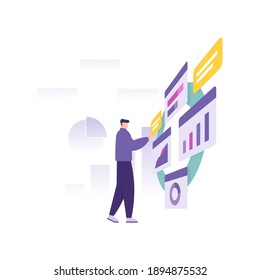 a concept of a data analyst, business management, financial manager. illustration of a man analyzing and managing an information data or graph. flat style. vector design element