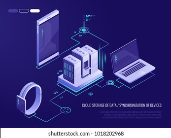 Concept of data network management .Vector isometric map with business networking servers, computers and devices.Cloud storage data and synchronization of devices.3d isometric style