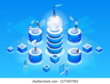 Concept of data network management .Vector isometric map with business networking servers, computers and devices.