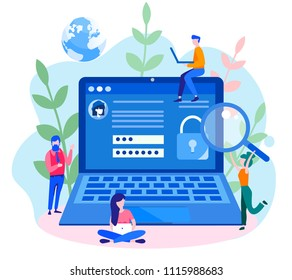 Concept data protection, internet security for web page, banner, presentation, social media, documents, cards, posters. Vector illustration Online security, secure internet browsing