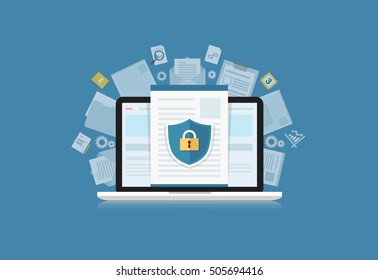 Concept is data security Access .Shield on Computer Desktop or laptop  protect sensitive data. Internet security. Vector design