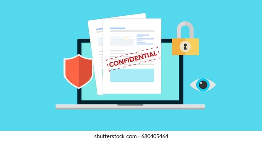 Concept is data security Access .Shield on Computer Desktop or laptop protect sensitive data. Internet security Vector design