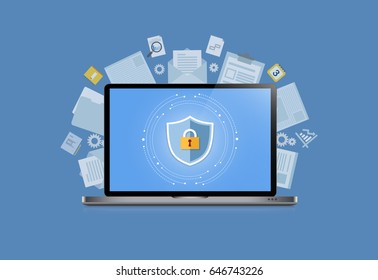 Concept is data security Center .Shield on Computer Laptop protect sensitive data. Internet security. Vector Illustration
