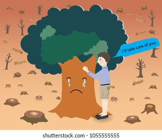 Concept of deforestation,a big tree is crying with a boy.
