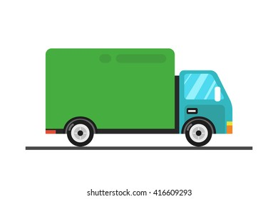 Concept of the delivery service. Illustration of fast shipping. Truck van of rides at high speed.