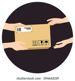 Concept for delivery service, online shopping, receiving package. Vector illustration. Hands of courier with parcel and customers hands.