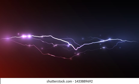 The concept of depicting lightning. A lightning strike striking with multiple sparks. Energy release. Natural disaster. Thunder and lightning abstract vector