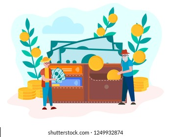 The concept of the Deposit  Accumulation Contribution to the pension account, the Savings of Pensioners. Pensioners put banknotes and coins in the purse, savings in old age. Vector illustration.