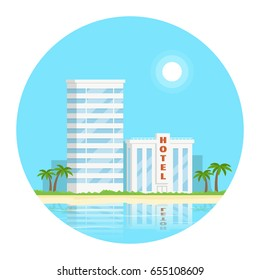 Concept design circle composition with hotel on the beach. Beach skyline concept. Summer vacation. Vector illustration in flat style.