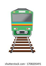 concept design of front view electric train or subway with railroad drawing in vector