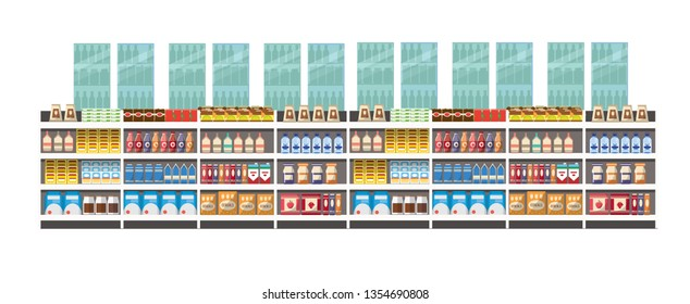 Concept design of supermarket interior with products. vector design of supermarket. supermarket interior with white background.