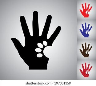 Concept design vector Illustration art of Human Hand Silhouette holding a paw of a Dog or a Cat - colorful collection set