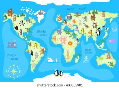 World map cartoon images stock photos vectors shutterstock concept design world map with animals of all the continents and oceans drawing in funny cartoon gumiabroncs Images