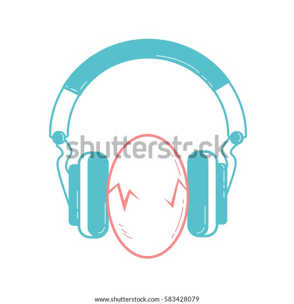 concept  the destruction of the of hearing, in the form of egg between headphones