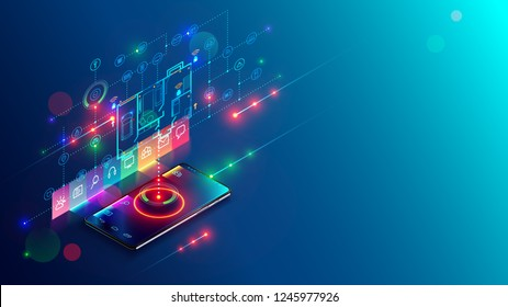 Concept development abstract smart home system. Mobile app showing plan building IOT devices. Isometric infographics illustration about internet of things on holographic drawing building on smartphone