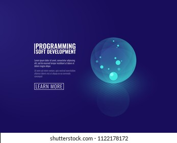 Concept development of new technologies icon transparent luminous ball isometric vector illustration