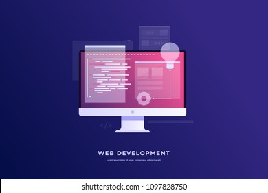 Concept of development and software. Monitor with program code on screen and open web pages. Digital industry. Innovations and technologies. Vector flat illustration.