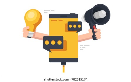 Concept of digital advertising and marketing, mobile phone with message dialog 3d flat vector illustration